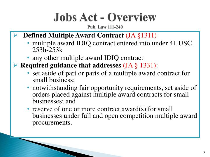 Jobs act overview pub law 111 240
