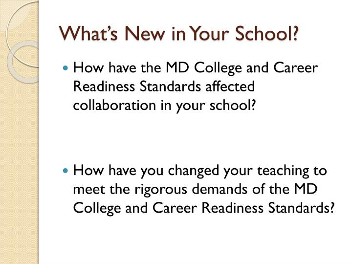 What's New in Your School?