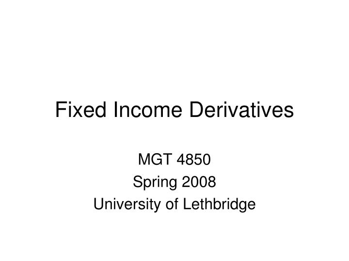 fixed income derivatives n.