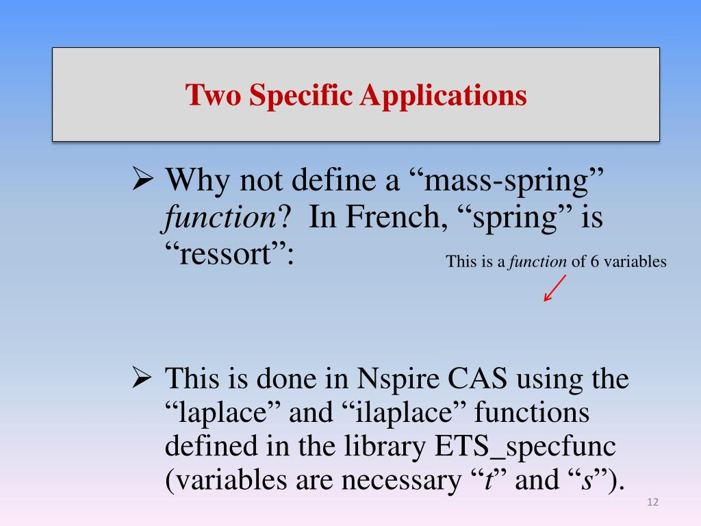 PPT - Nspire CAS and Laplace Transforms PowerPoint