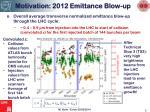 motivation 2012 emittance blow up