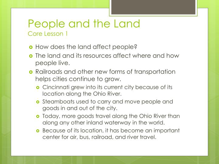 People and the land core lesson 1