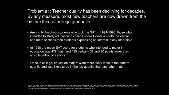 Problem #1: Teacher quality has been declining for decades. By any measure, most new teachers are now drawn from the bottom third of college graduates.