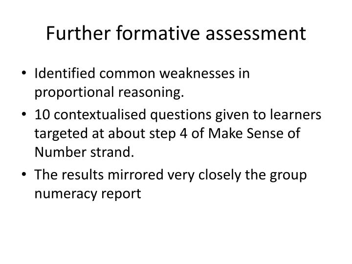 Further formative assessment