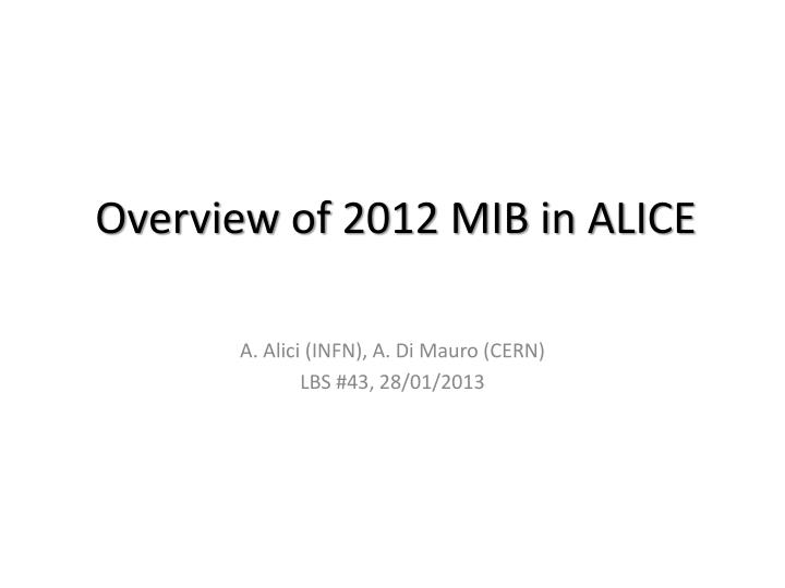 Overview of 2012 mib in alice