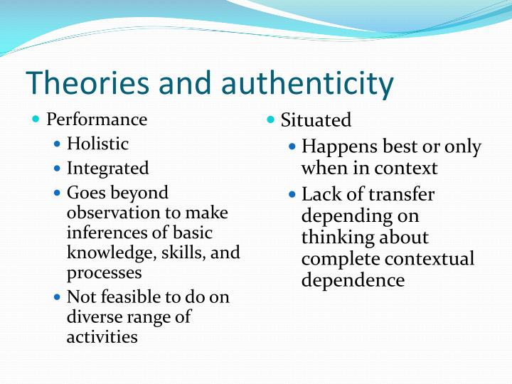 Theories and authenticity