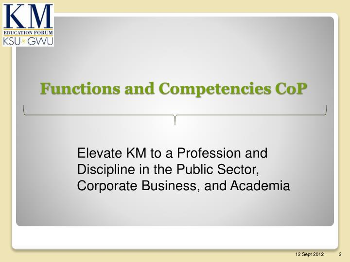 Functions and competencies cop