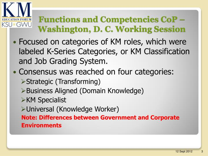 Functions and competencies cop washington d c working session