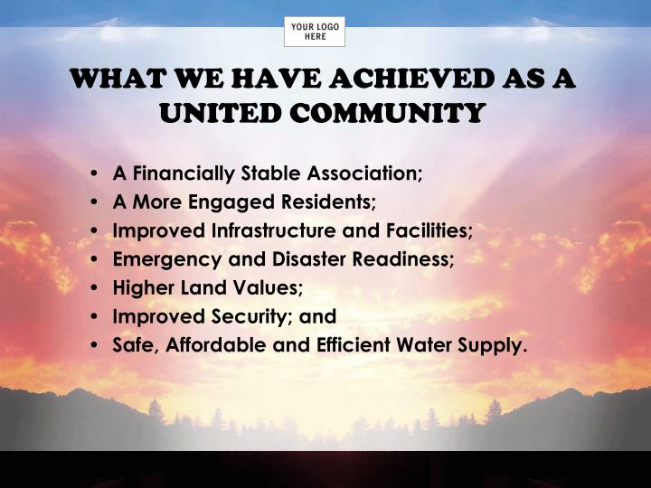 WHAT WE HAVE ACHIEVED AS A UNITED COMMUNITY