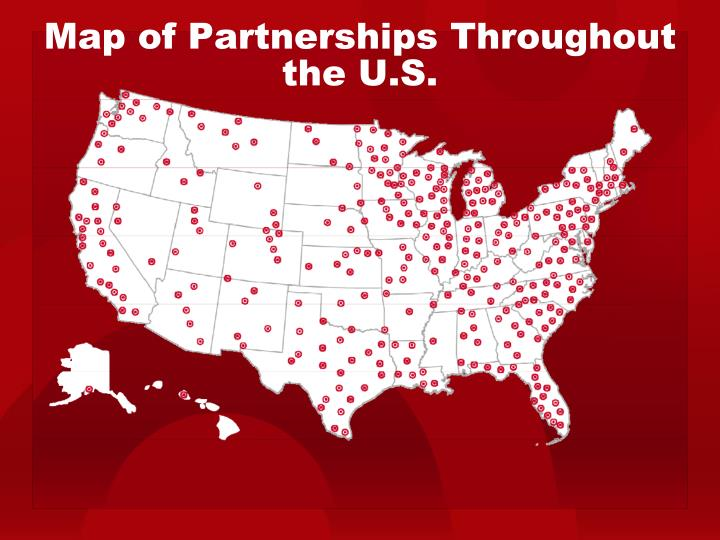 Map of partnerships throughout the u s