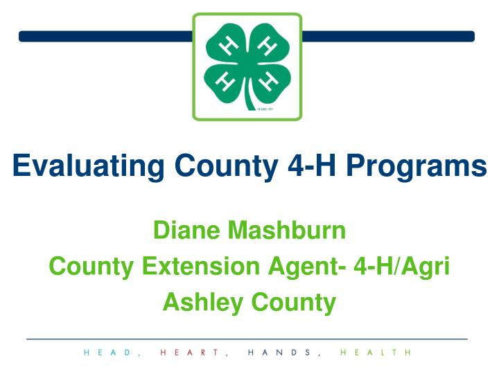Evaluating county 4 h programs
