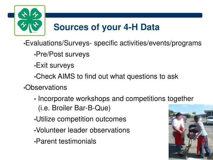 Sources of your 4-H Data
