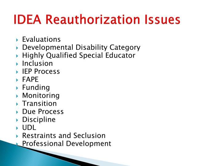 IDEA Reauthorization Issues