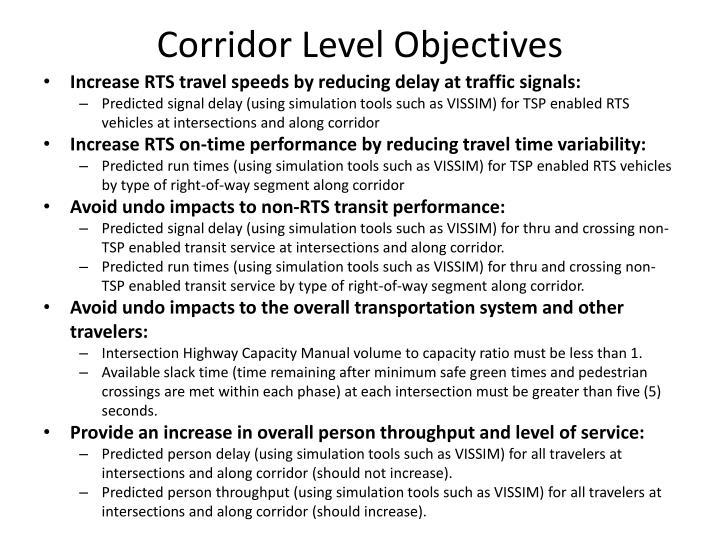 Corridor Level Objectives