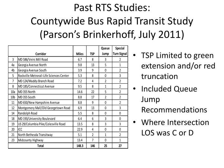 Past RTS Studies: