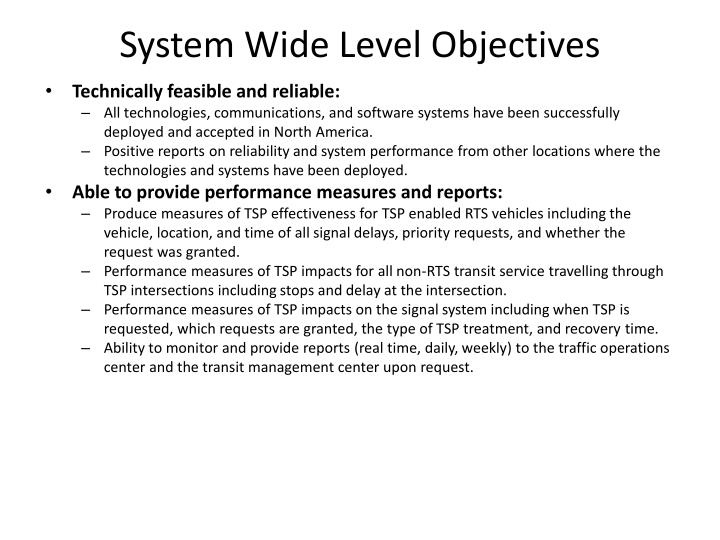 System Wide Level Objectives