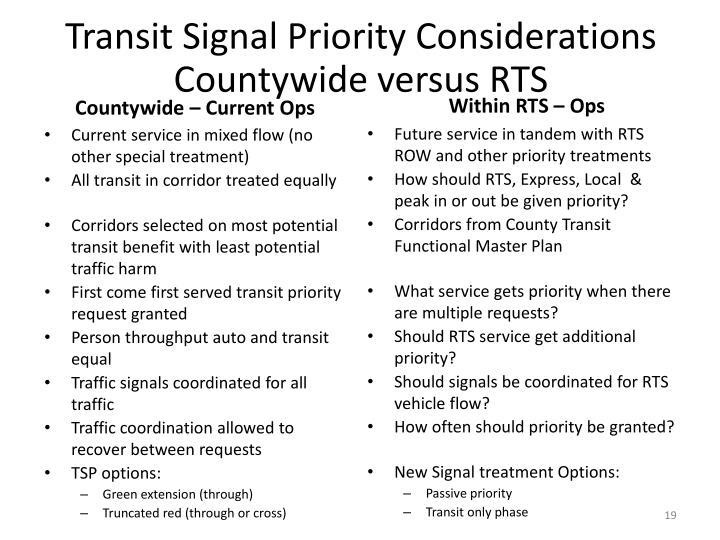 Transit Signal Priority Considerations