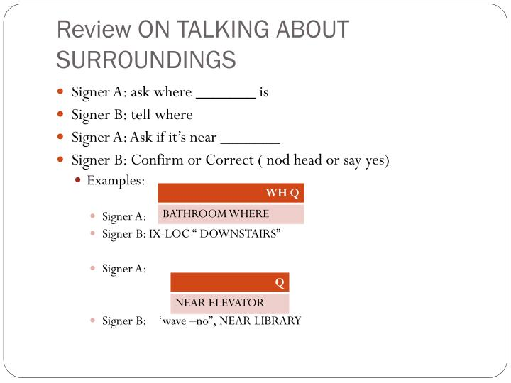 Review ON TALKING ABOUT SURROUNDINGS