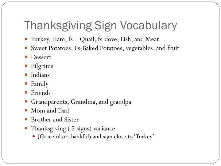 Thanksgiving Sign Vocabulary