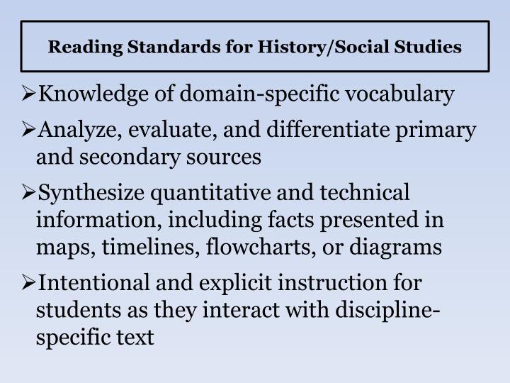Reading Standards for History/Social Studies