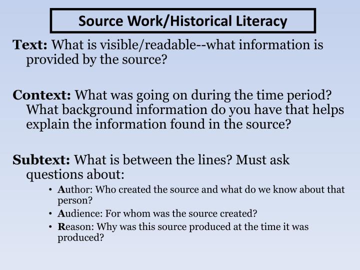 Source Work/Historical Literacy