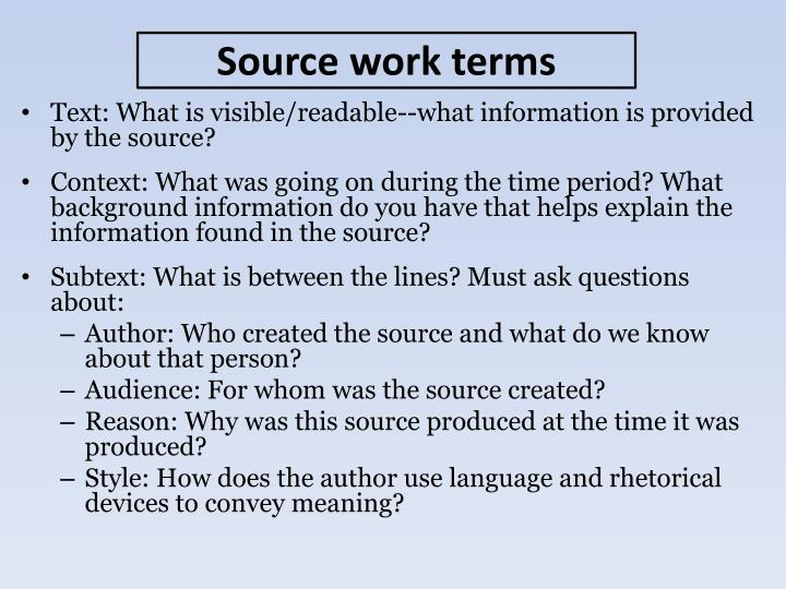 Text: What is visible/readable--what information is provided by the source?