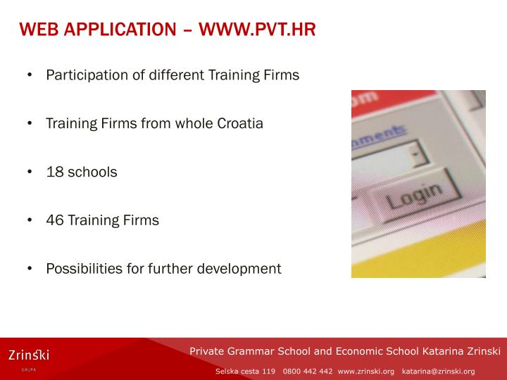 Web application – www.pvt.hr