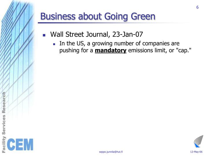 Business about Going Green