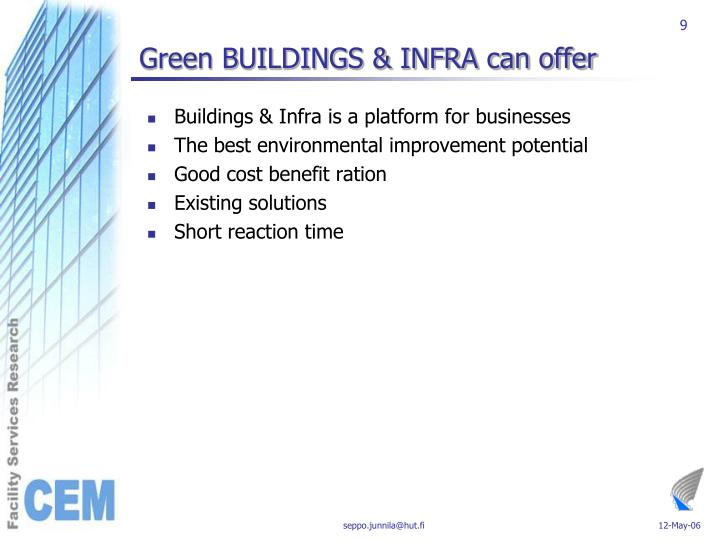 Green BUILDINGS & INFRA can offer