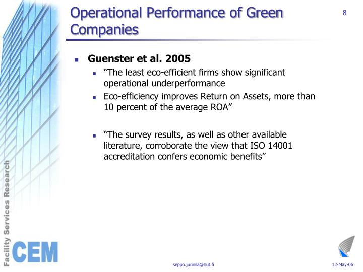 Operational Performance of Green Companies