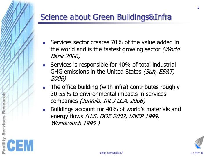 Science about green buildings infra