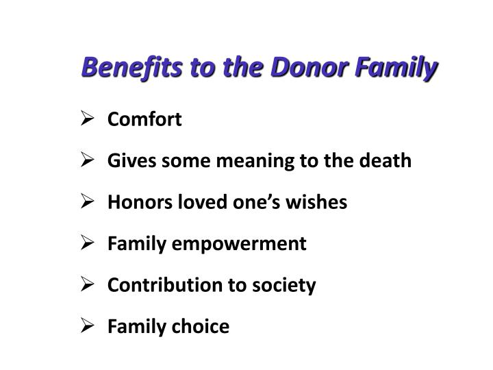 Benefits to the Donor Family