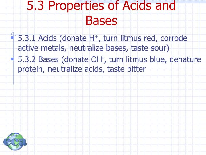 5.3 Properties of Acids and