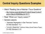 central inquiry questions examples