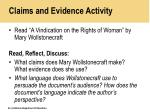 claims and evidence activity