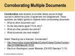 corroborating multiple documents