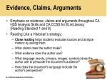 evidence claims arguments