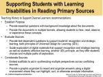 supporting students with learning disabilities in reading primary sources