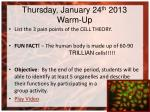 thursday january 24 th 2013 warm up