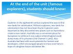 at the end of the unit famous explorers students should know