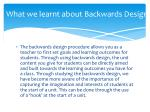 what we learnt about backwards design
