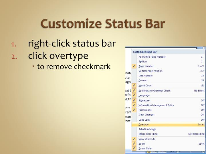 Customize Status Bar
