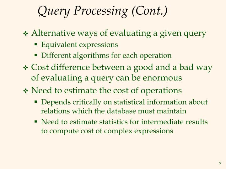 Query Processing (Cont.)