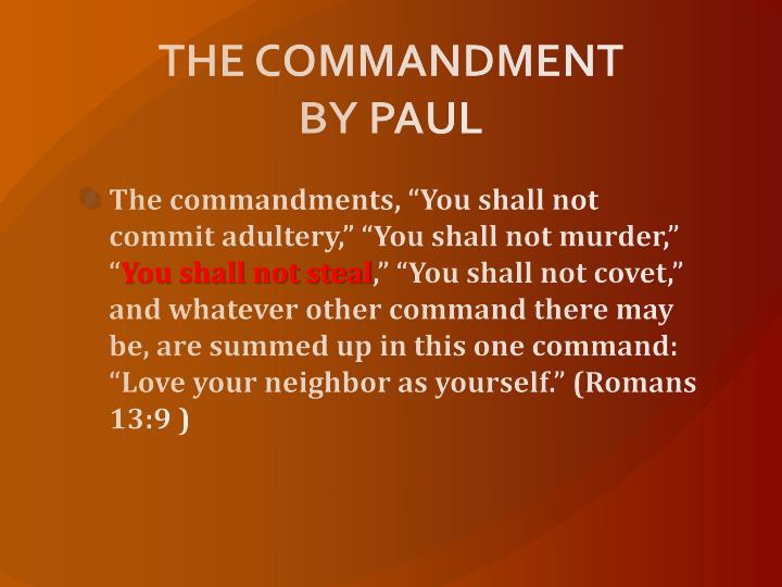 THE COMMANDMENT BY PAUL