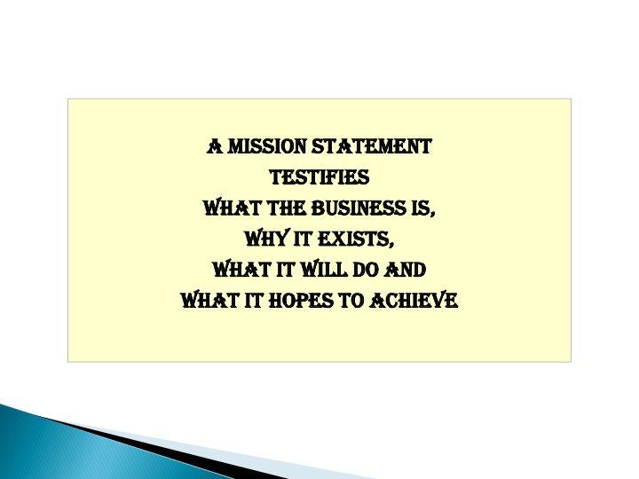 A mission statement