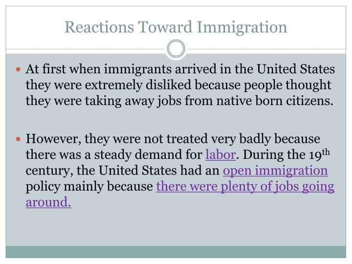 Reactions Toward Immigration