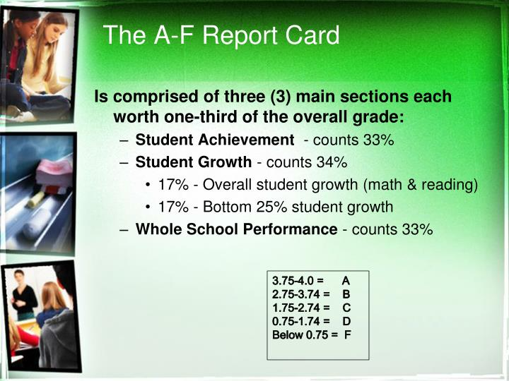 The a f report card