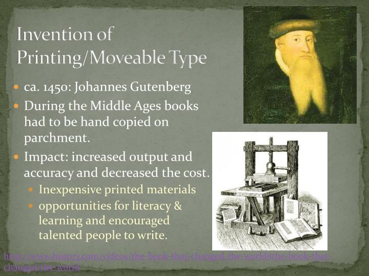 Invention of printing moveable type