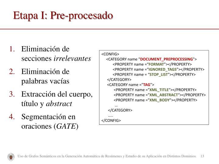 Etapa I: Pre-procesado