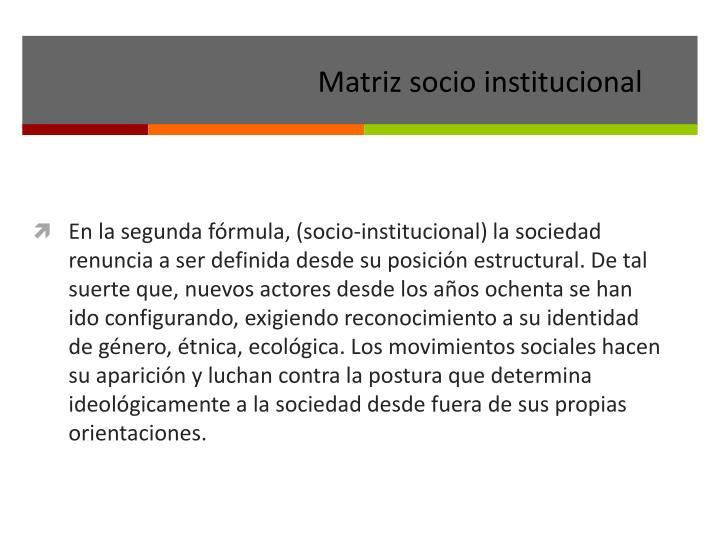 Matriz socio institucional